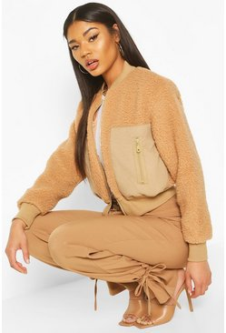 Teddy Faux Fur Bomber, Camel, DAMEN