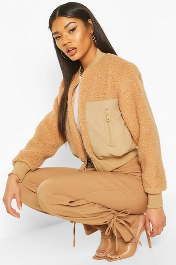 Womens Camel Teddy Faux Fur Bomber