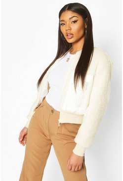 Teddy Faux Fur Bomber, Cream