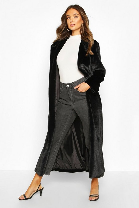 Longline Faux Fur Coat