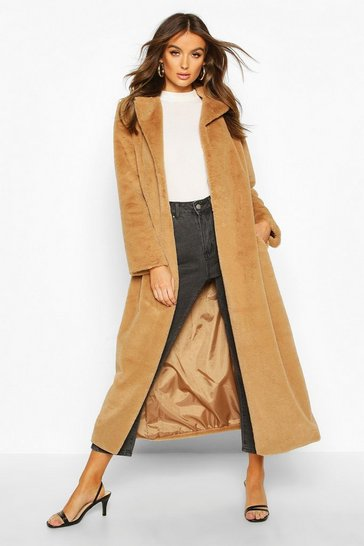 Womens Camel Longline Faux Fur Coat