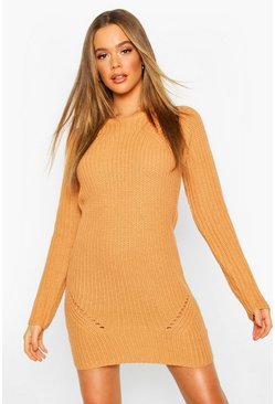Womens Camel Rib Knitted Midi Dress