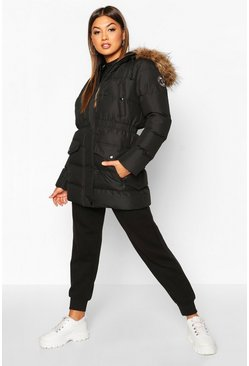 Dam Black Faux Fur Trim Sporty Parka