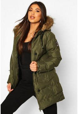 Khaki Faux Fur Trim Sporty Parka