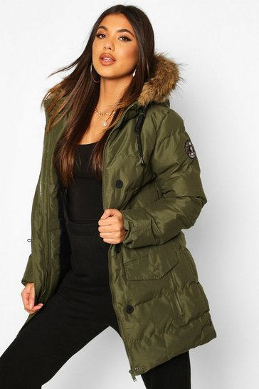 Womens Khaki Faux Fur Trim Sporty Parka