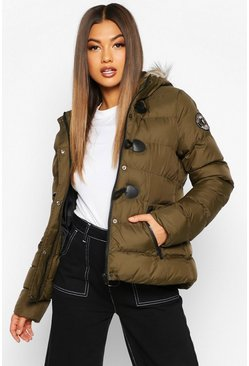 Womens Khaki Short Quilted Puffer Jacket