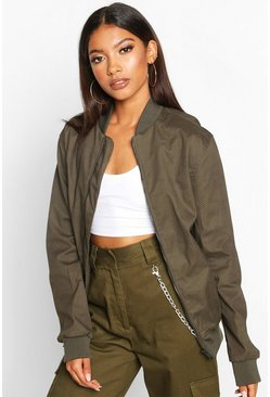 Womens Khaki Oversized Boyfriend Bomber Jacket