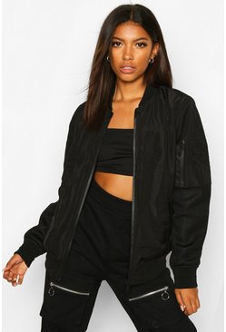 Black Oversized Zip Detail Boyfriend Bomber Jacket