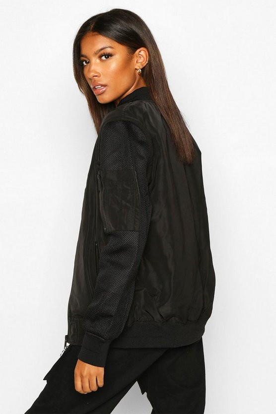 Oversized Zip Detail Boyfriend Bomber Jacket