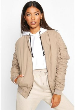 Oversized Ruched Sleeve Boyfriend Bomber Jacket, Stone