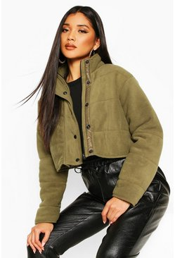 Womens Olive Crop Fleece Puffer Jacket