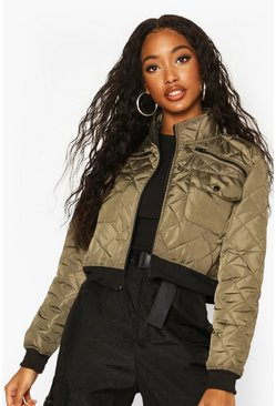 Khaki Cropped Pocket Detail Bomber