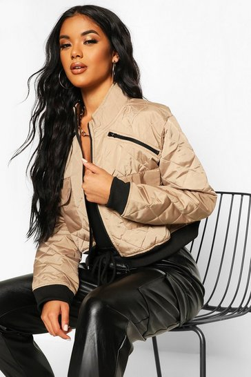 Womens Stone Cropped Pocket Detail Bomber