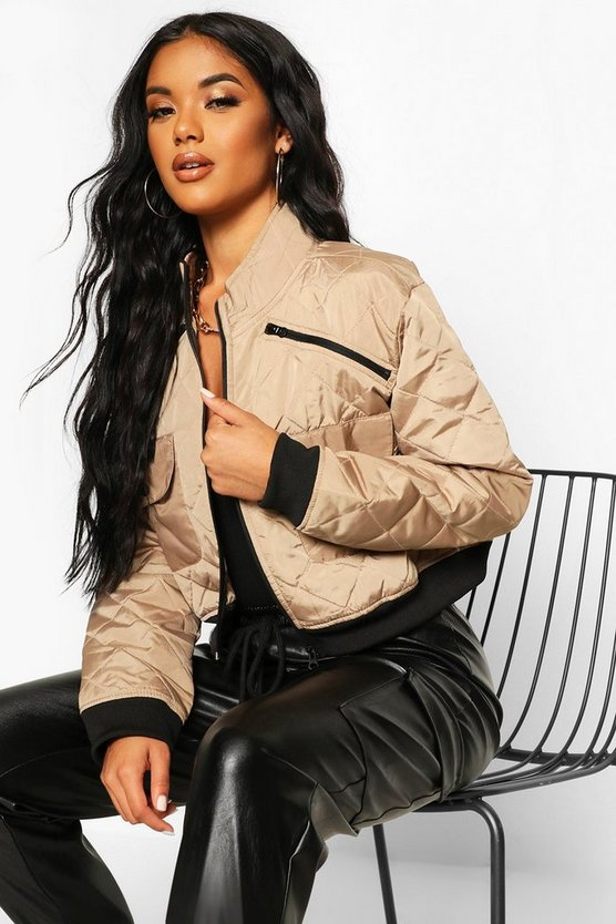 Cropped Pocket Detail Bomber