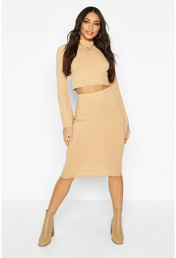 Womens Camel Jumbo Ribbed Midi Skirt