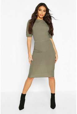 Womens Khaki Jumbo Ribbed Midi Skirt