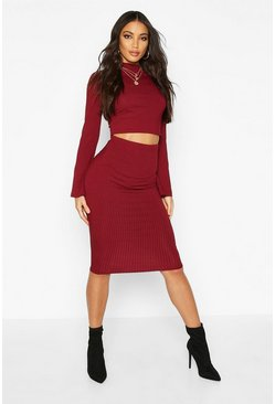 Wine Jumbo Ribbed Midi Skirt