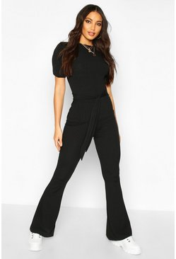 Black Jumbo Ribbed Tie Waist Flared Trousers