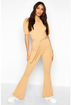 Camel Jumbo Ribbed Tie Waist Flared Pants