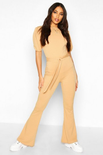 Womens Camel Jumbo Ribbed Tie Waist Flared Trousers