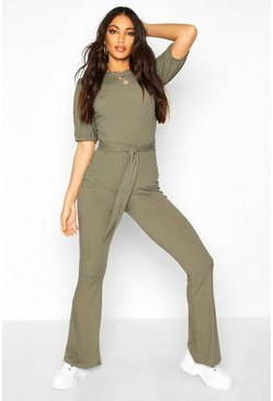 Khaki Jumbo Ribbed Tie Waist Flared Trousers