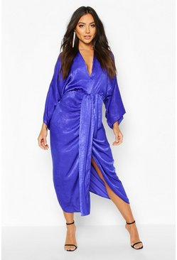 Cobalt Velvet Satin Batwing Midaxi Dress