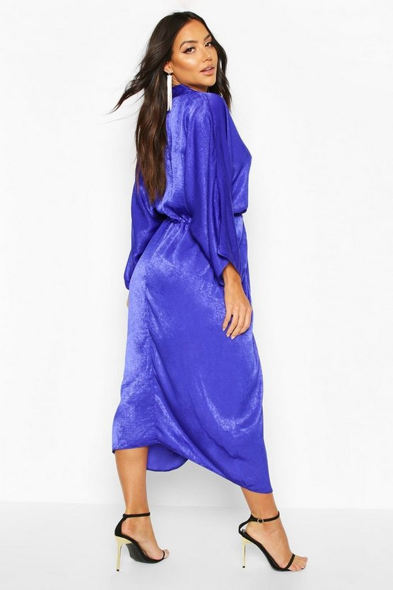 Velvet Satin Batwing Midaxi Dress