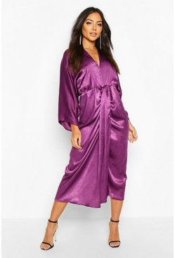 Womens Plum Velvet Satin Batwing Midaxi Dress