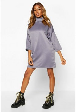 Roll Neck 3/4 Sleeve Sweatshirt Dress, Petrol, MUJER