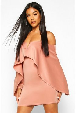 Womens Rose Off The Shoulder Cape Sleeve Mini Dress