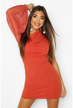 One Shouler Puff Sleeve Mini Dress, Rust, MUJER