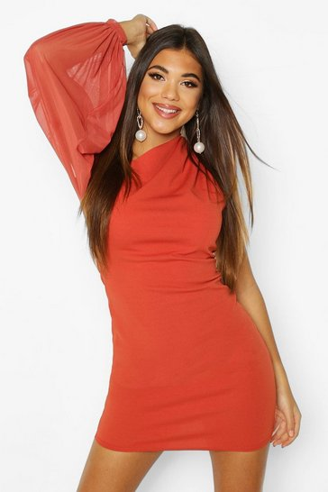 Rust One Shouler Puff Sleeve Mini Dress