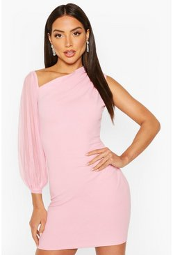 Soft pink One Shouler Puff Sleeve Mini Dress