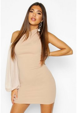One Shouler Puff Sleeve Mini Dress, Stone