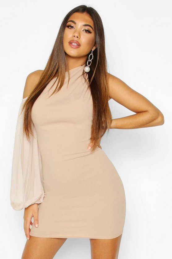 One Shouler Puff Sleeve Mini Dress
