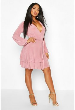 Womens Rose Wrap Front Tiered Slinky Skater Dress