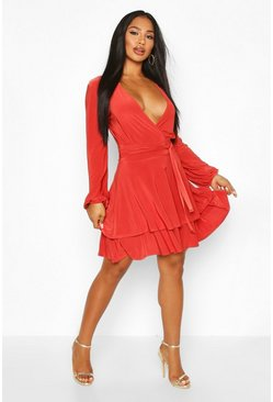 Rust Wrap Front Tiered Slinky Skater Dress
