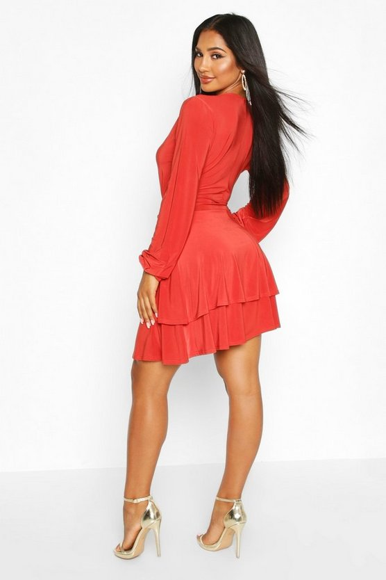 Wrap Front Tiered Slinky Skater Dress
