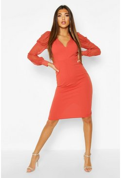 Rust Puff Mesh Sleeve Midi Dress