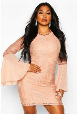 Womens Nude High Neck Lace Flared Sleeve Mini Dress