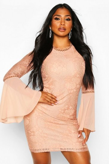 Nude High Neck Lace Flared Sleeve Mini Dress