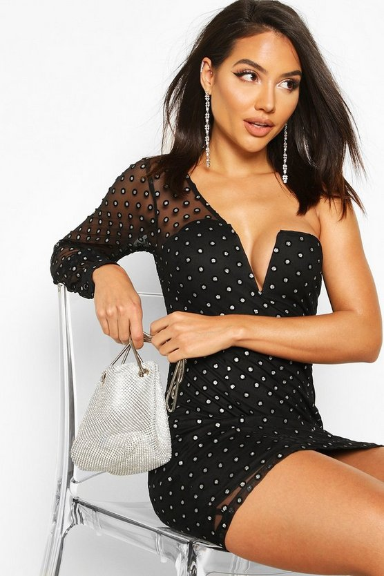 Womens Black One Shoulder Glitter Polka Dot Mesh Mini Dress