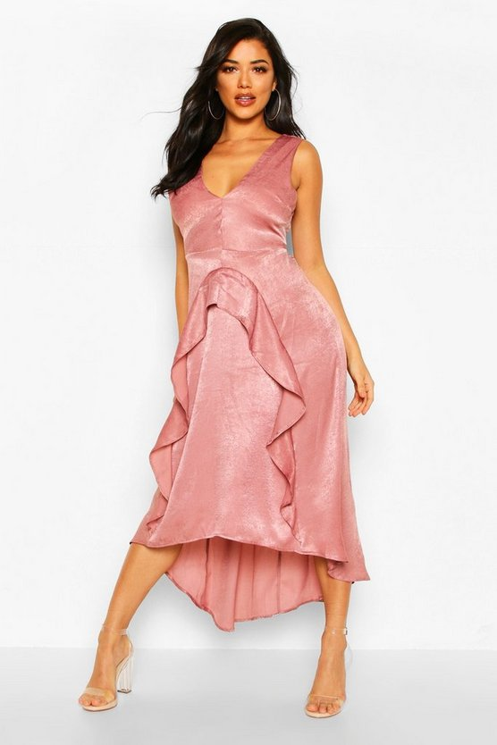 Dusty rose Satin Ruflle Maxi Dress