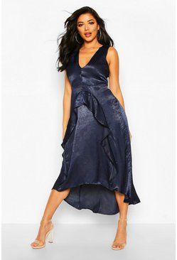 Navy Satin Ruflle Maxi Dress