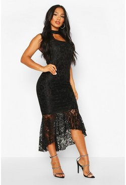 Black High Neck Lace Fishtail Midaxi