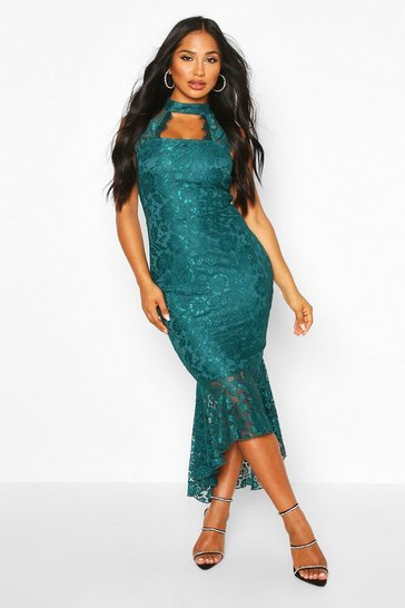 Womens Teal High Neck Lace Fishtail Midaxi