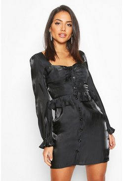 Black Metallic Satin Button Detail Mini Dress