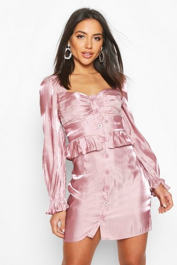 Womens Blush Metallic Satin Button Detail Mini Dress