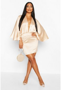 Dam Champagne Satin Cape Mini Dress
