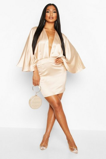 Womens Champagne Satin Cape Mini Dress